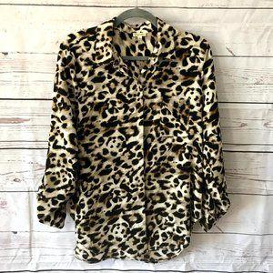 *3/$18*Lily White Animal Print Button Down Blouse